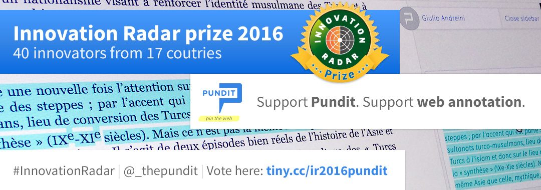 Pundit short-listed for the Innovation Radar Prize 2016: vote for Pundit!